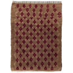 Karapinar Rug with Floral Lattice Design in Latte Brown and Red