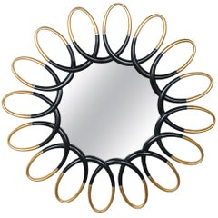 Midcentury Gilt and Ebonized Wood Sunburst Mirror
