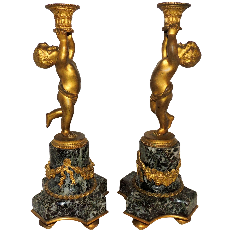 Wonderful Pair French Dore Bronze Cherub Putti Ormolu Swag Marble Candlesticks