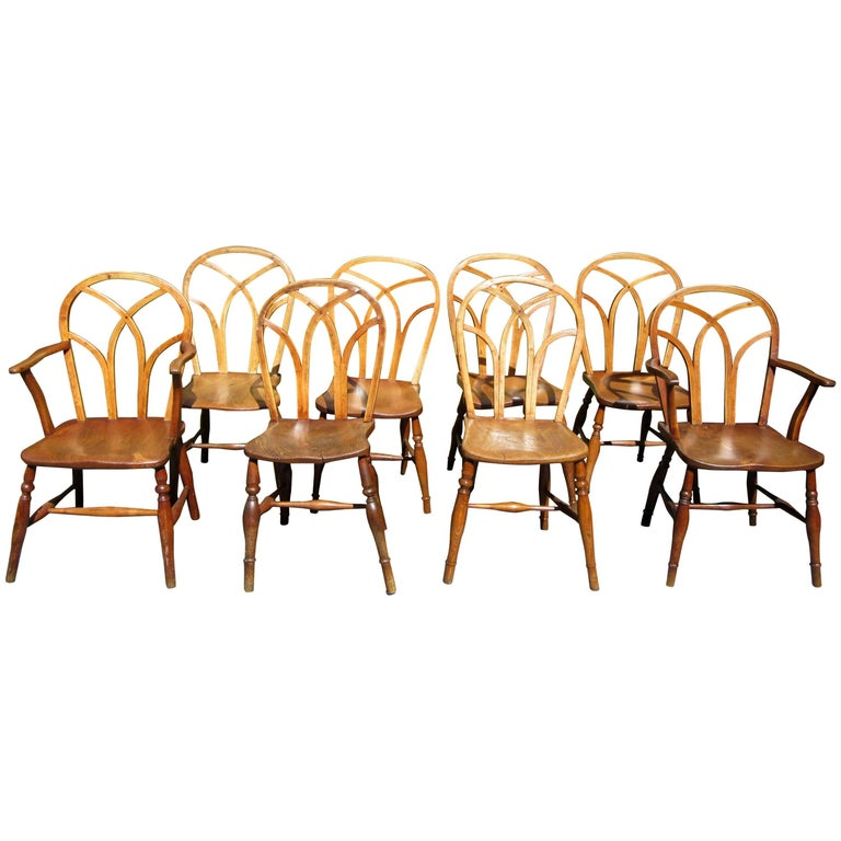 Set of Eight George IV Ash and Elm Gothic Windsor Chairs 1