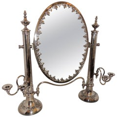 Wonderful English Silver Plated Shaving Dressing Tilt Candelabra Wreath Mirror