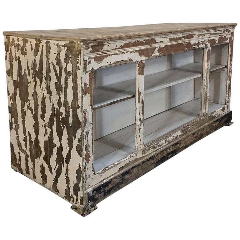 19th Century Distressed Painted Store Counter or Bar