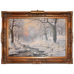 Winter Scene Oil Painting on Canvas by Laszlo Neogrady