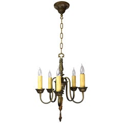 Cast Brass French Empire Style Five-Light Chandelier