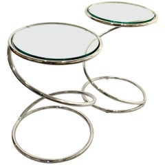 Pair of Pace Collection Spring Tables in Chrome and Glass