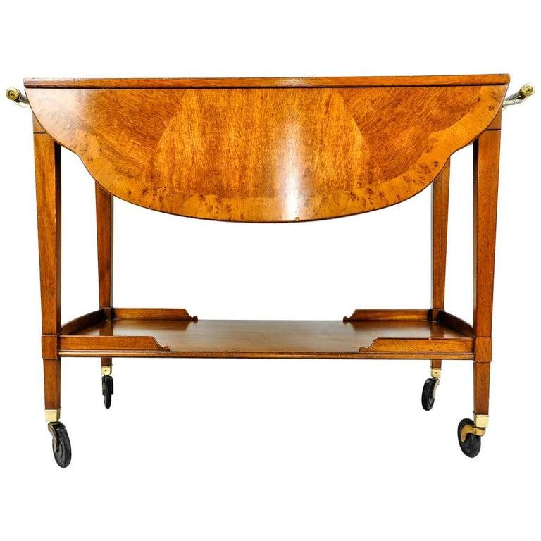 Mid-20th Century Satinwood Mahogany Bar Cart or Tea Trolly