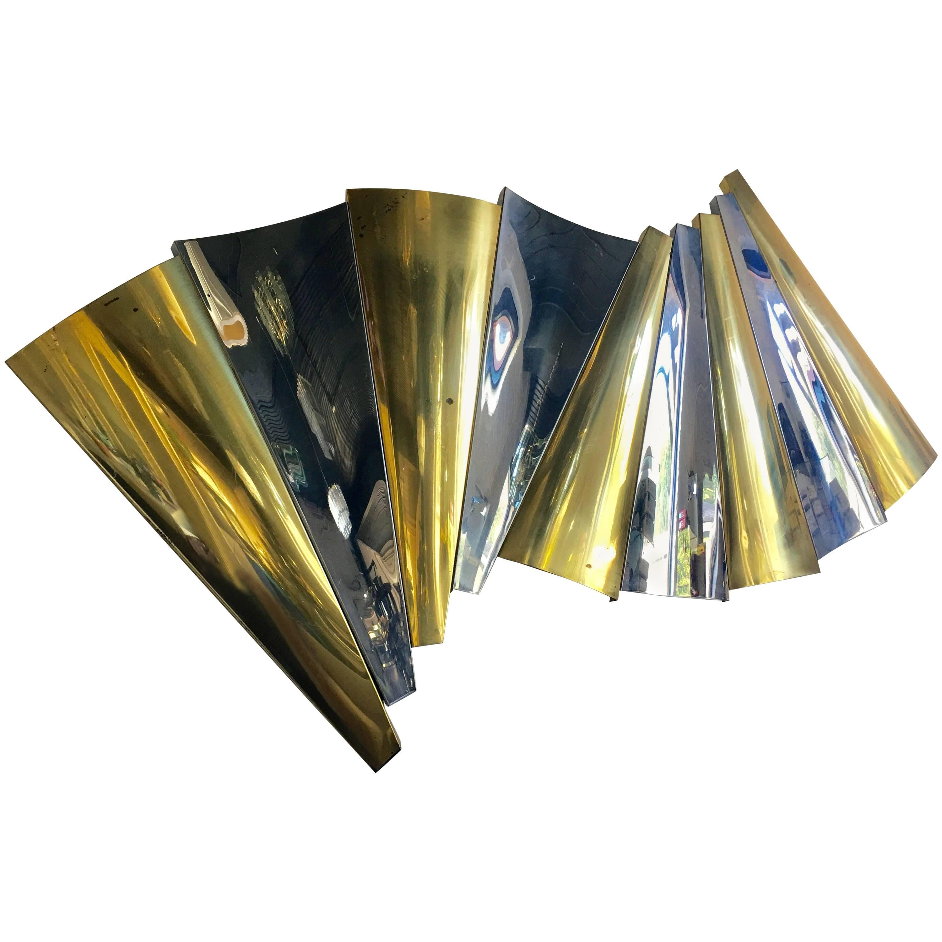 Curtis Jere Brass and Chrome Wall Sculpture, 1980s