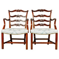 Antique Pair of English Carved Ribbon Back Chairs