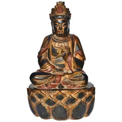 Huge Wooden Gilded Buddha Statue, Hand-Painted