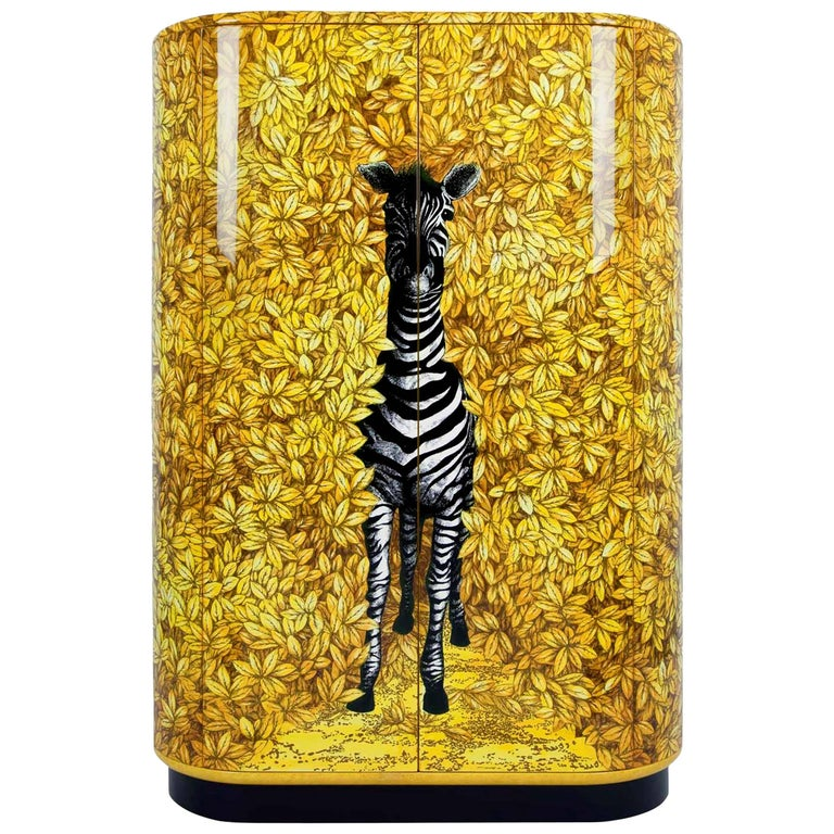 Fornasetti Zebra Curved Cabinet For Sale