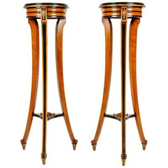Antique Pair of English Sand Wood Mahogany Stand or Pedestal