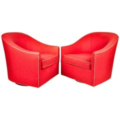 Pair of Red Upholstery Contemporary Us Bergere Chairs