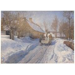 Peder Mønsted, Winter Landscape with a Milkman in Høje Taastrup Signed and Dated