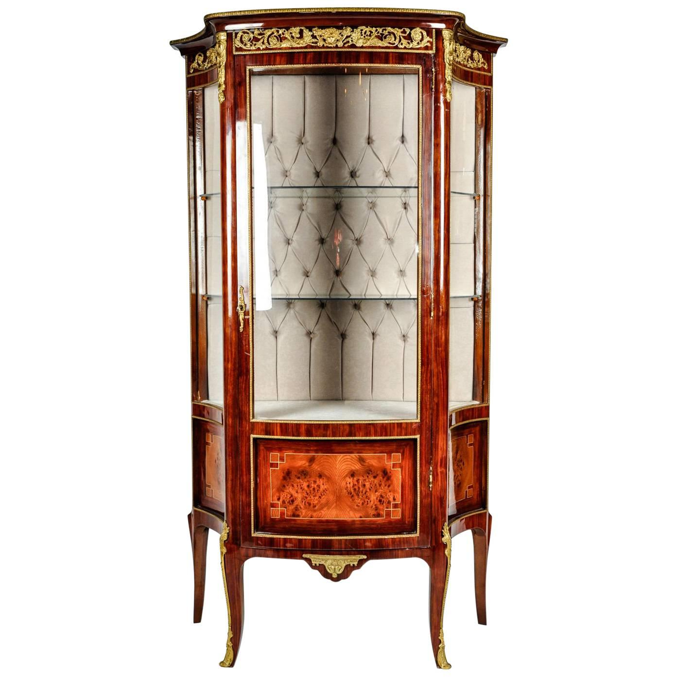 Vintage Sand Burl Wood Mahogany Hutch Cabinet Or Vitrine For Sale