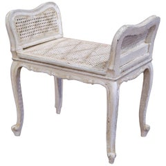 Early 20th Century French Painted Piano Bench or Vanity Chair with Cane Seat