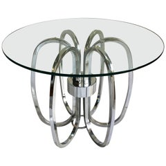 Mid-Century Modern Chrome and Glass Sculptural Round Side Accent Table, 1970s