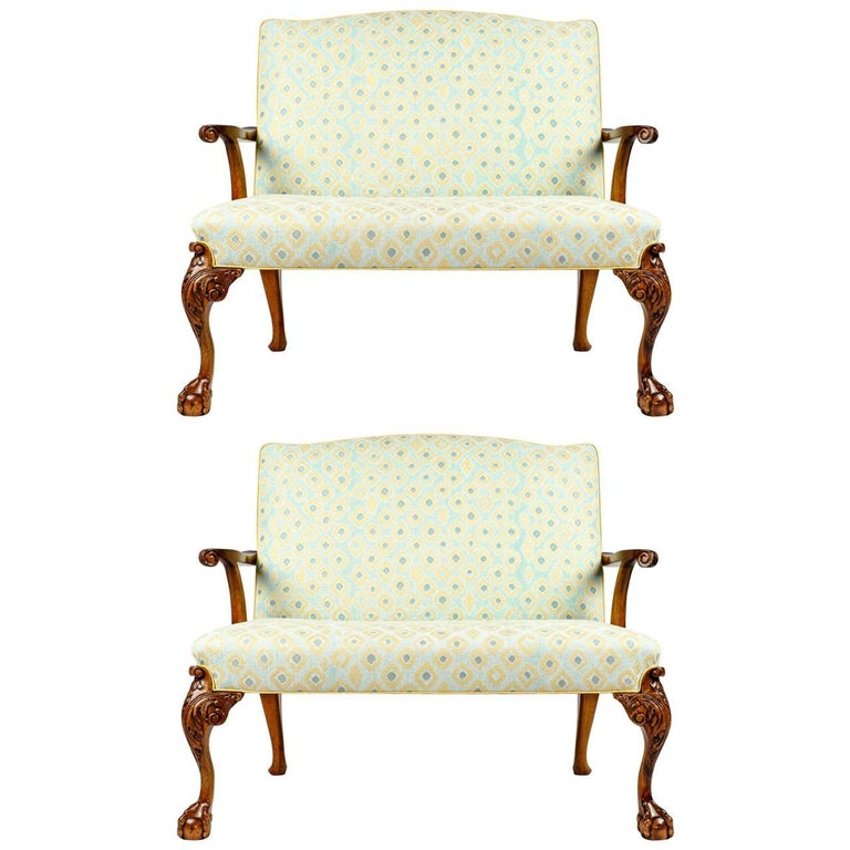 Antique Pair of Claw Foot or Camelback Settee