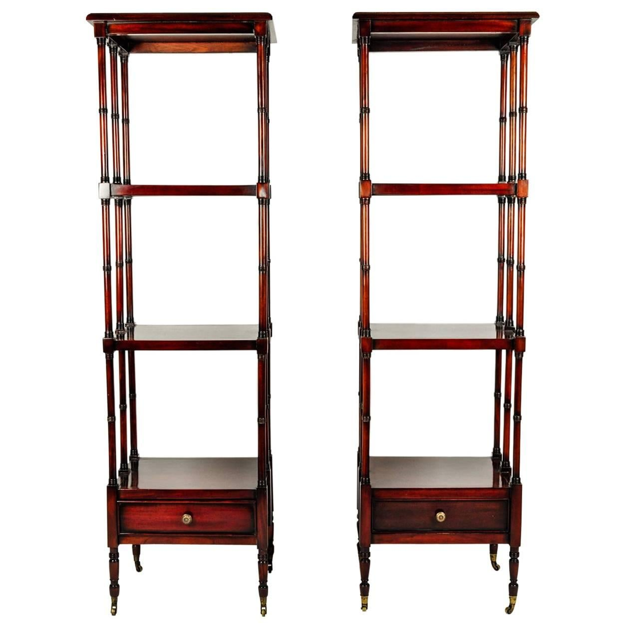 Vintage Pair Of Solid Mahogany Wood Display Etageres / Shelves