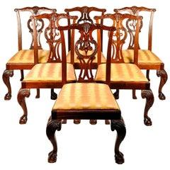 Vintage Set Eight Georgian Style Mahogany Baker Dining Room Chairs