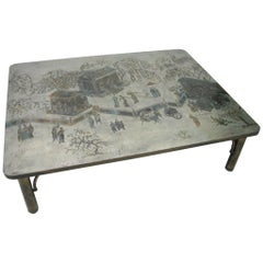 "1970s, Signed Philip & Kelvin LaVerne ""Tao"" Etched Metal & Enamel Coffee Table"