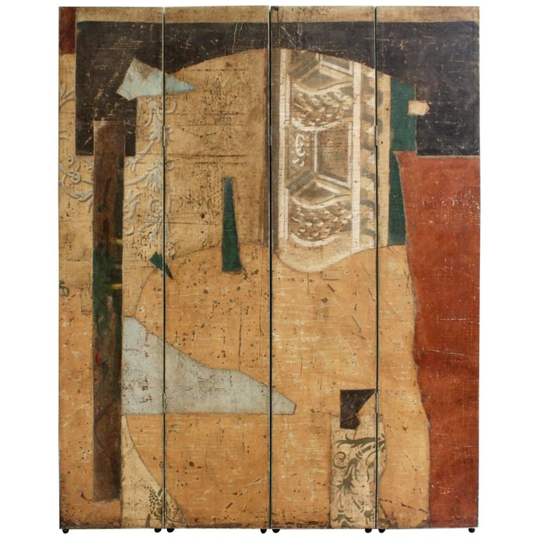 Postmodern, Abstract, Pop-Art Folding Screen or Painting, Signed Jacques Lamy