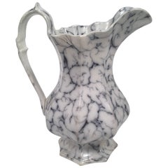 19th Century Staffordshire Pottery Faux Marble Pitcher