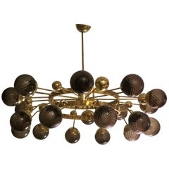 1950 Murano Art Glass and Brass Mid-Century Chandelier
