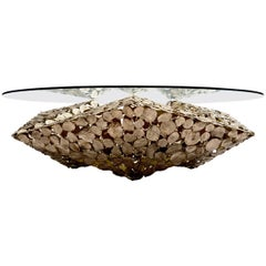 Contemporary Stellated Spherical Spring Table in Cast Silicon Bronze and Glass