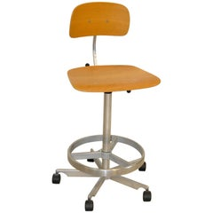 Bar Drafting Stool Aluminum and Oak by Jorgen Rasmussen for Kevi