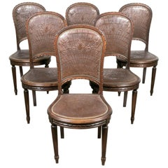 Set of Six French Louis XVI Tooled Leather Dining or Side Chairs
