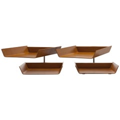 Pair of Early 1950s Florence Knoll Molded Plywood Architectural Letter Tray's