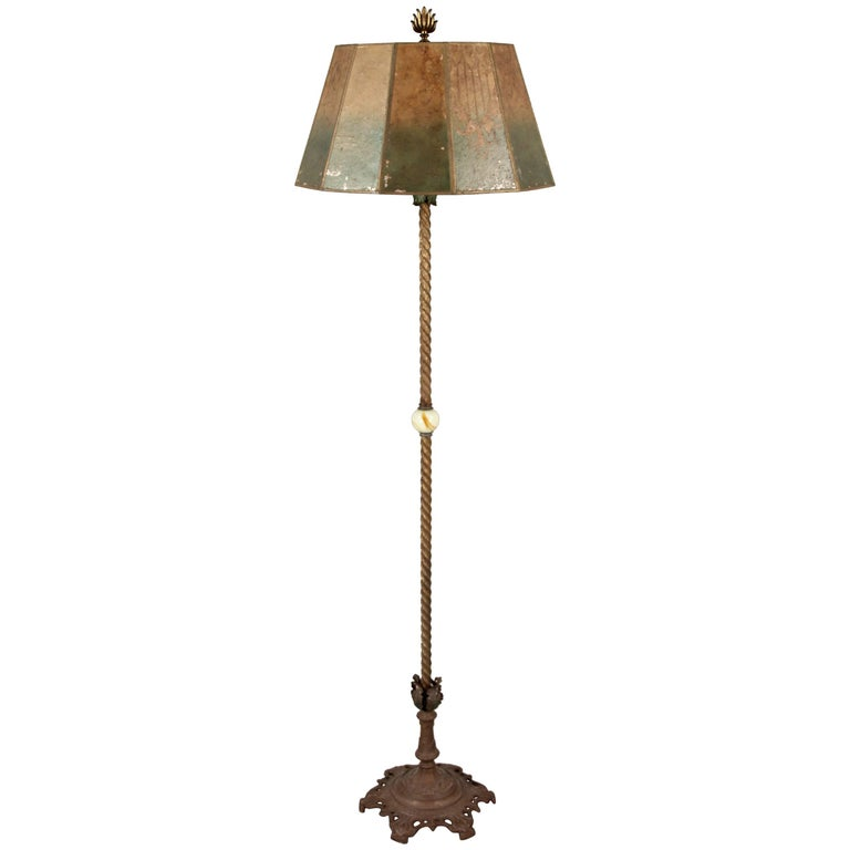 Antique 1920s floor lamp with original mica shade for sale for Antique floor lamp markings