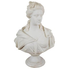 A Neoclassical Style Carved Mable Bust of a Woman