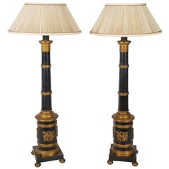 Pair of Gilt and Patinated-Bronze Columns Fitted as Lamps