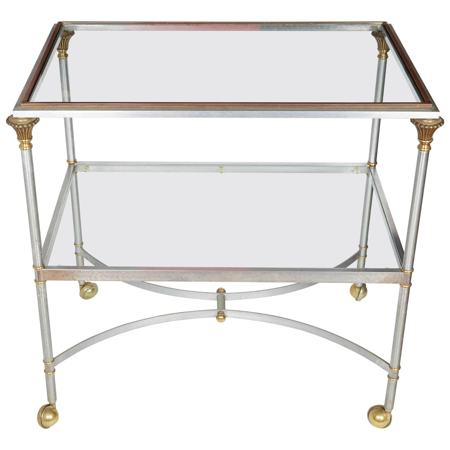"Classic Vintage French 55"" Square Two Tier Brass and Glass Coffee"