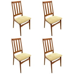 Set of Four Danish Modern Solid Teak Tall Back Dinning Chairs
