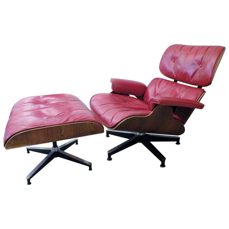 1960s Charles & Ray Eames Custom Red 670 671 Lounge Chair Ottoman Herman Miller For Sale