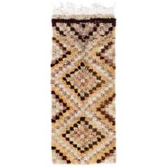 Vintage Checkered Tulu Runner Rug
