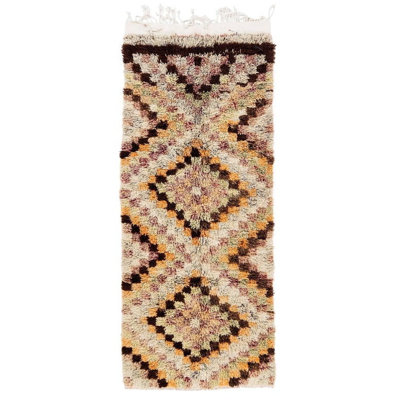 Yellow Checkered Rug: Vintage Checkered Tulu Runner Rug For Sale At 1stdibs