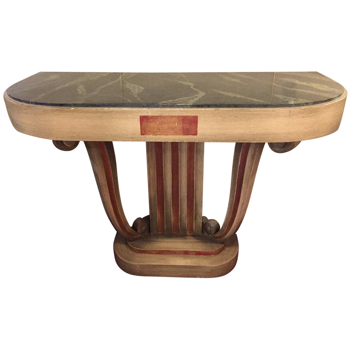 Faux Marble-Top Jansen Style Green Painted Console or Demilune