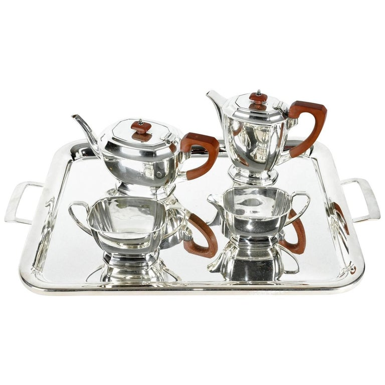 English Art Deco Silver Plate Tea or Coffee Service