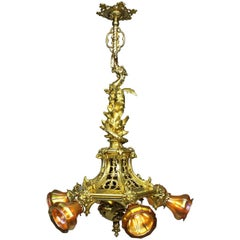 "American Gothic-Revival Gilt-Bronze ""Dragon"" Chandelier in the Manner of Tiffany"