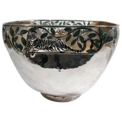 Emilia Castillo Taxco Silver Tiger Malachite Inlay Reticulated Salad Bowl