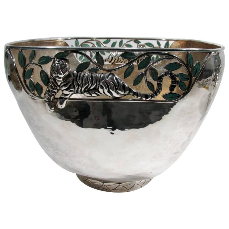 Emilia Castillo Taxco Silver Tiger Malachite Inlay Reticulated Salad Bowl 1