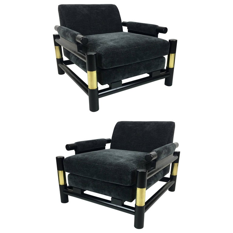 Pair of Ebonized Dowel and Brass Frame Lounge Chairs