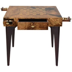 Modern-Style Burl Wood Veneer Game Table by Aldo Tura