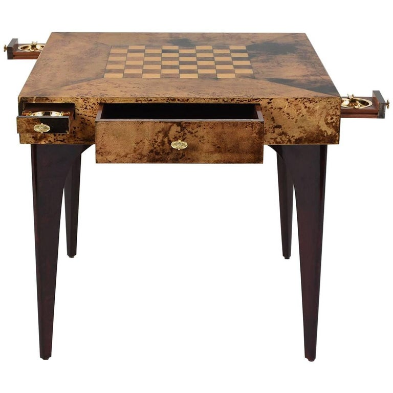 Modern Style Burl Wood Veneer Game Table By Aldo Tura For