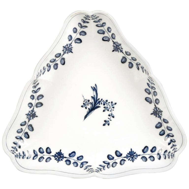 Large 18th Century Marcolini Meissen Blue and White Triangular Dish For Sale