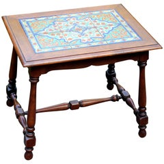 Antique California Tile Table Spanish Colonial Mission Hispano Moresque Pottery