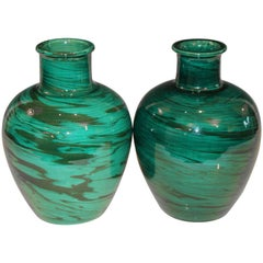 Bitossi MCM Raymor Vintage Italian Pottery Marbled Green Marbleized Vases, Pair